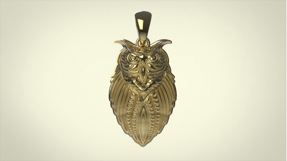 image Owl Pendant - 3D Full 360 Rotateable
